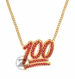 100 Emoji Ruby Red Necklace Pendant 14K Gold