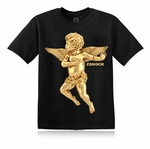 Gold Angel Of Virtue Black T-Shirt