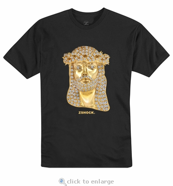 Jesus Piece With Diamonds In Yellow Gold Black T-Shirt