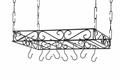 Concept Housewares 24 x 16 Inch Scrolled Iron Pot Rack, Black