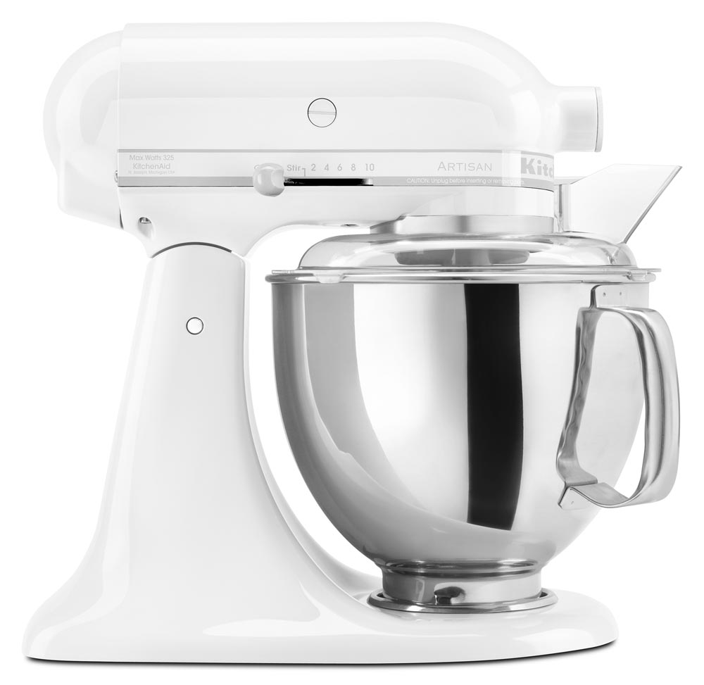 kitchenaid ksm150psww artisan 5 quart stand mixer white. Black Bedroom Furniture Sets. Home Design Ideas