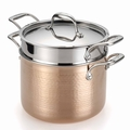 Lagostina Martellata Hammered Copper Pastaiola Set, 6 Quart