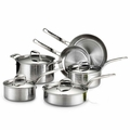 Lagostina Martellata Hammered Stainless Steel Cookware Set, 10 Piece