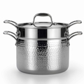 Lagostina Martellata Hammered Stainless Steel Pastaiola Set, 6 Quart