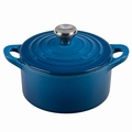 Le Creuset Cast Iron 0.3 Quart Round French Oven w/ Stainless Handle, Marseille Blue