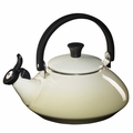 Le Creuset Enamel on Steel 1.6 Quart Zen Tea Kettle, Dune White
