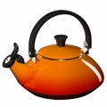 Le Creuset Enamel on Steel 1.6 Quart Zen Tea Kettle, Flame Orange