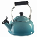 Le Creuset Enamel on Steel 1.8 Quart Whistling Tea Kettle, Caribbean Blue