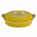 Le Creuset Heritage Stoneware Oval 4 Quart Covered Casserole, Soleil Yellow