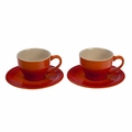 Le Creuset Set of 2 Cappuccino Cups and Saucers, Flame Orange