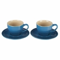Le Creuset Set of 2 Cappuccino Cups and Saucers, Marseille Blue