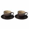 Le Creuset Set of 2 Cappuccino Cups and Saucers, Truffle Brown