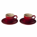 Le Creuset Set of 2 Espresso Cups and Saucers, Cherry Red
