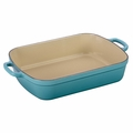 Le Creuset Signature 5.25 Quart Cast Iron Roaster, Caribbean Blue