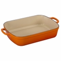 Le Creuset Signature 5.25 Quart Cast Iron Roaster, Flame Orange