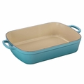 Le Creuset Signature 7 Quart Cast Iron Roaster, Caribbean Blue