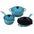 Le Creuset Signature Cast Iron 5 Piece Cookware Set, Caribbean Blue
