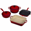Le Creuset Signature Cast Iron 6 Piece Cookware Set, Cherry Red