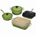 Le Creuset Signature Cast Iron 6 Piece Cookware Set, Palm Green