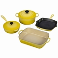 Le Creuset Signature Cast Iron 6 Piece Cookware Set, Soleil Yellow