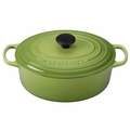Le Creuset Signature Enameled Cast Iron 5 Quart Oval French Oven, Palm Green