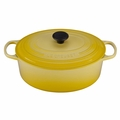 Le Creuset Signature Enameled Cast Iron 6.75 Quart Oval French Oven, Soleil Yellow