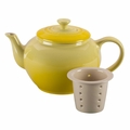 Le Creuset Stoneware 22 ounce Teapot w/ Infuser, Soleil Yellow
