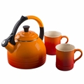 Le Creuset Teakettle and Mug Gift Set, Flame Orange