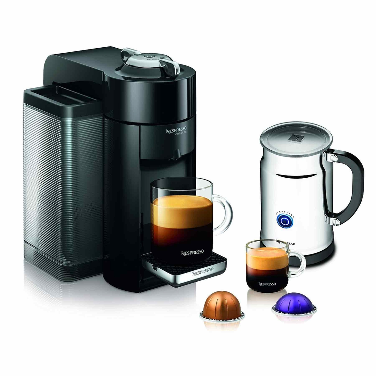 Nespresso Vertuoline Evoluo Deluxe Espresso Maker With Aeroccino Plus Milk Frother Black
