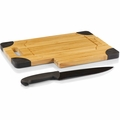Picnic Time Legacy Culina Cutting Board with Carving Knife, Black