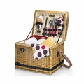 Picnic Time Moka Yellowstone Willow Picnic Basket with Deluxe Service for 2, Brown