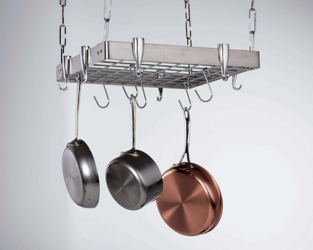 Pot pan rack ceiling pot and pan rack ceiling half moon for Overhead pots and pans rack