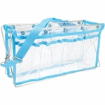Deluxe Handy Caddy Knit and Crochet Organizer - Clear W/Turquoise Trim