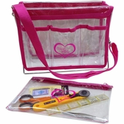 Handy Caddy Knit and Crochet Organizer with Zipper Project Bag - Clear with Pink Trim