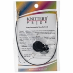 "Knitters Pride Interchangeable Cord 11"" Black W/Gold Plated Connectors (20"" w/tips)"