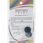 "Knitters Pride Interchangeable Cord 8"" Black W/Gold Plated Connectors (16"" w/tips)"