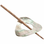 Paradise Exotic - Triangle Shaped Shell Shawl Pin