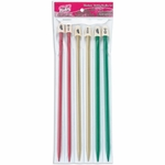 "Silvalume Single Point 10"" Knitting Needles Set Sizes 9 (5.5mm) 10 (6mm) and 10.5 (6.5mm)"
