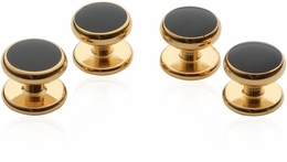 4 Gold Black Shirt Studs