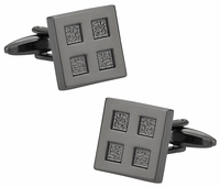 4 Square Gun Metal Cufflinks