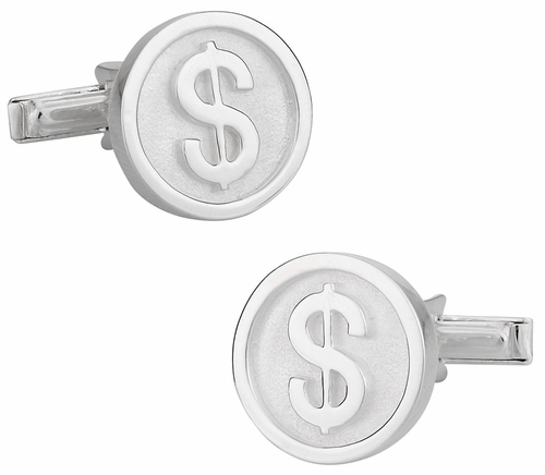 925 Sterling Silver Dollar Sign Cuff Links