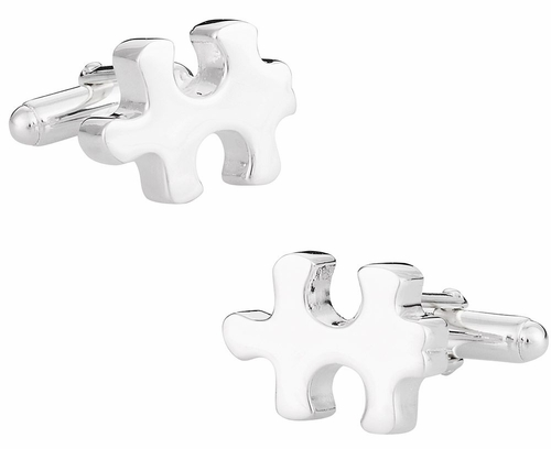 925 Sterling Silver Puzzle Piece Autism Awareness Cufflinks