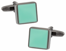 Aquamarine Gunmetal Cufflinks