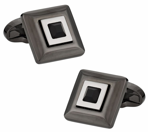 Black Crystal Hematite Cufflinks