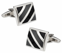 Black Gray Enamel Cufflinks