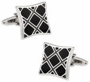 Black Plaid Cufflinks