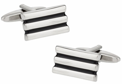 Black Silvertone Lined Cufflinks
