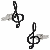 Black Treble Clef Music Cufflinks