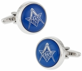 Blue Masonic Freemason Round Cufflinks