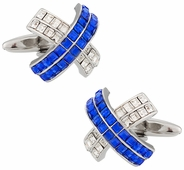 Blue X Crystal Cufflinks